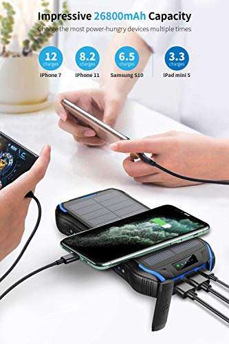 Solar Charger 26800mAh, Solar Power Bank, Portable Charger Battery Pack with 3 Outputs and 2 Inputs Micro USB Type C Huge Capacity Backup Battery Compatible Smartphone, Tablet and More(Black+Blue)