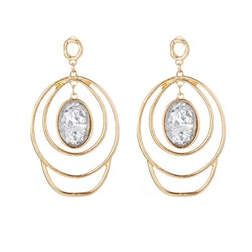 Geometric Metal Dangle Earrings Size Round Pendant Earrings with Diamond Earrings for Women Teen Girls Ear Jewelry (gold)