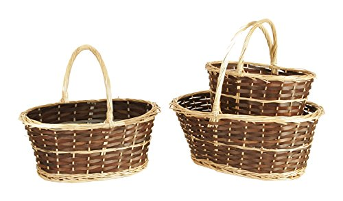 Wald Imports Brown & Beige Willow  Decorative Nesting Storage Baskets, Set of 3