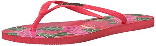 Havaianas Women's Slim Floral Sandal, Coral 37/38 BR (7/8 M US) - Havaianas Floral Flip Flops