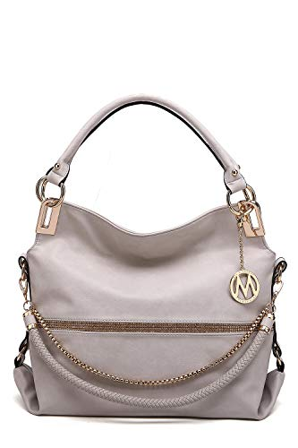 (MKF Hobo Crossbody Bag for Women - Satchel Shoulder Handbag - Vegan Leather Top Handle Purse Removable Strap Beige)