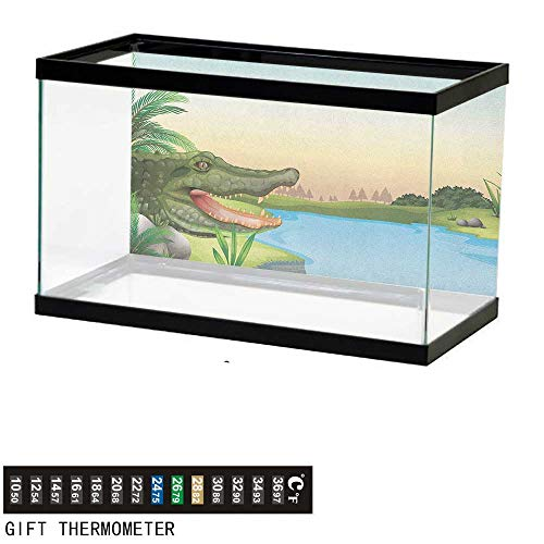 Jinguizi ReptileFish Tank BackdropIllustration of Exotic Crocodile at The River with Palm Trees Humor Summer Design24 L X 24