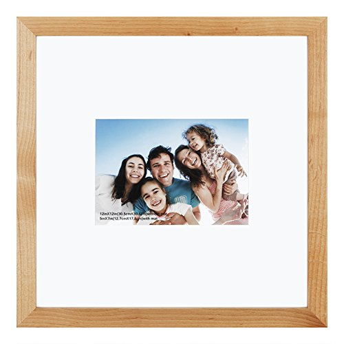 12 Wood Picture Frame Frames - 12x12 inch Picture Frame Made of Solid Wood and High Definition Glass Display Pictures 5x7 with Mat or 12x12 Without Mat for Wall Mounting Photo Frame Natural