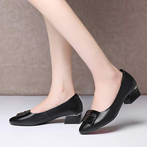 Forty Lady'S Head Leather Shoes Shoes Shallow Sole Thick Black KPHY Shoes Work Heel Soft Mother'S Mouth wT6nEn1q
