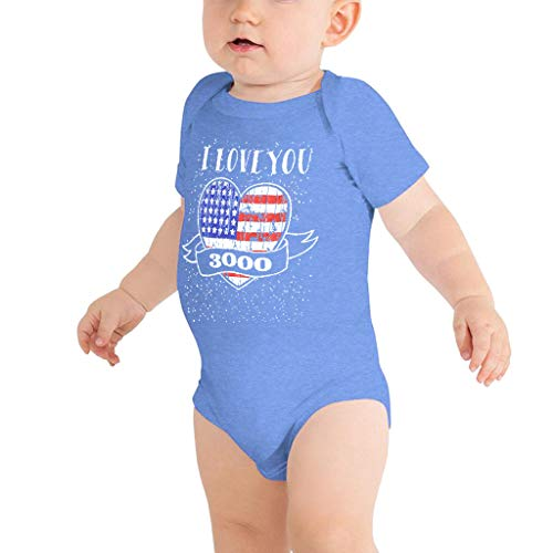 I Love You 3000 Baby Boys Girls Funny Letter Print Romper Jumpsuit Clothes for Infant Newborn Patriotic Outfits Blue -