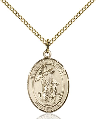 Patron Saints by Bliss 14K Gold Filled Guardian Angel Medal Pendant, 3/4 Inch ()