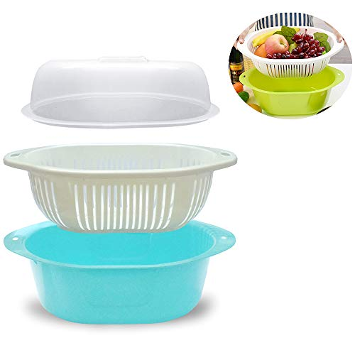 3 in 1 Dish Tub and Colander Set with Lid, Vegetable Washer with Bowl, Dishpan Strainer Basket Lettuce Washer and Dryer - Water Drain and Compact Storage(Blue) (With Fruit Plastic Lid Basket)