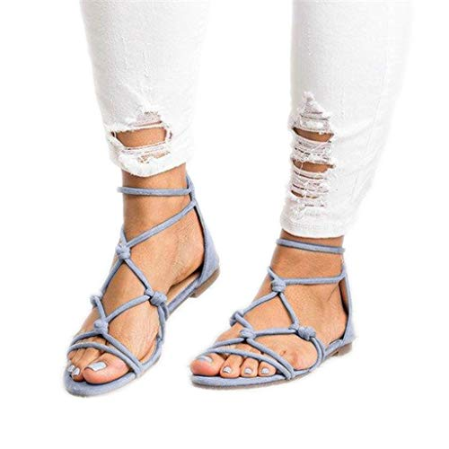 (sweetnice Women Shoes Womens Gladiator Strappy Flat Open Toe Lace Up Strap Ankle Wrap Summer Beach Thongs Flat Sandals (US:5.5, Light Blue))