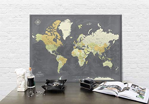 - Canvas Push Pin Travel Map - Personalized World map with pins - Fine Art Quality