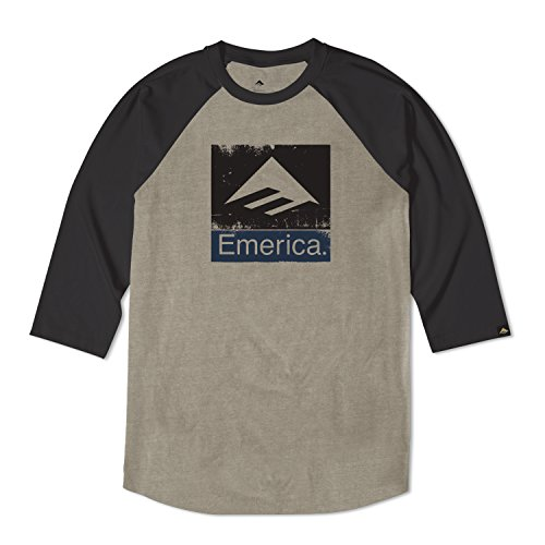 Emerica Combo (EMERICA Skateboard 3/4 Sleeve Shirt COMBO ROUGH BLACK/OLIVE Size M)