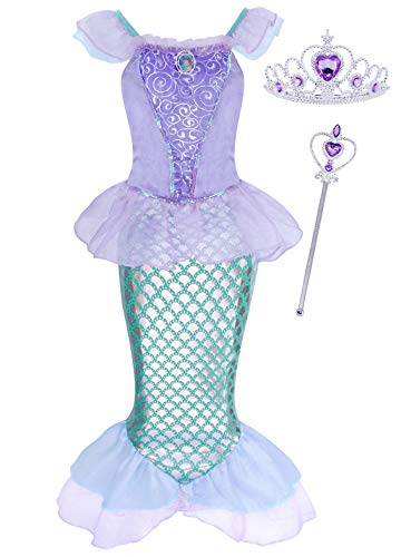 AmzBarley Mermaid Costume for Girls Fancy Dress Up Halloween Princess Ariel Sequins Birthday Theme Party Outfits with Accessories(Crown and Wand) Size 6 (5-6Years) -