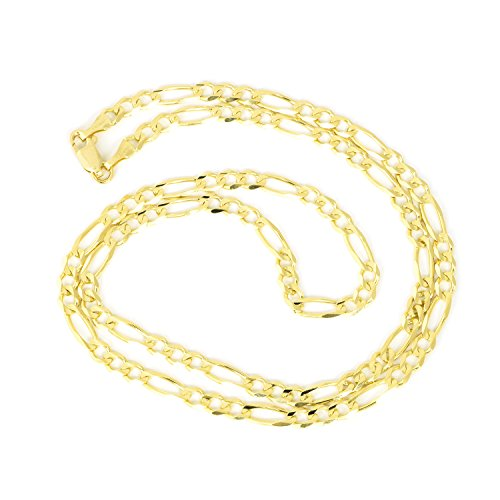 Men's 10k Solid Yellow Gold Figaro 4mm Chain Necklace, 24'' by Beauniq