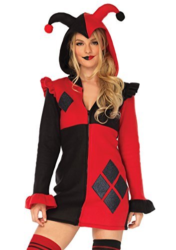 Leg Avenue Womens Cozy Harlequin Jester Halloween Costume, Red/Black Medium