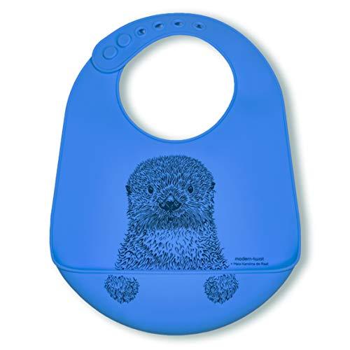 modern-twist BB018 Waterproof Silicone Adjustable Strap Bucket Baby Bib, Otter