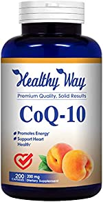 Healthy Way Pure CoQ10 200mg 200 Capsules Supports Healthy Heart &