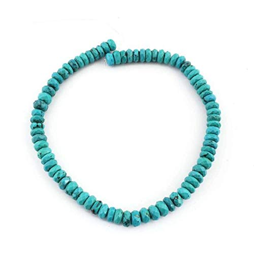 GemAbyss Beads Gemstone 1 Strand Natural Turquoise Stablized Faceted Roundelles Briolettes - Rondelles Beads 9mm-10mm 15 Inches - Turquoise Roundelle