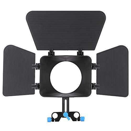 Andoer Matte Box Camshade for 15mm Rail Rod Follow Focus Rig Cage Movie Kit Film Making System for Nikon Canon DSLR Camera Camcorder DVR DV Recorder by Andoer