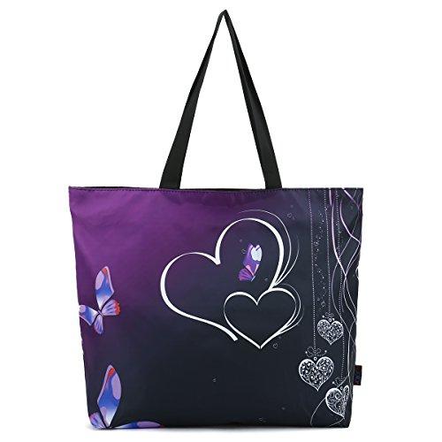 (ICOLOR Butterflies & Hearts Reusable Portable Large Grocery Storage HandBags Convenient Shoppers Tote Eco Friendly Shopping Bag Market travel Sports Beach School Handle case Bag shoulder bag)