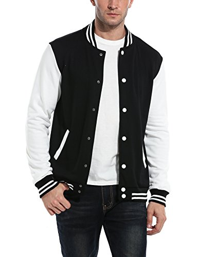 COOFANDY Men Fashion Long Sleeve Button Front Cotton Bomber Baseball Jacket(Black,Large)