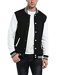 COOFANDY Mens Varsity Jacket Fashion Button Front Cotton Bomber Baseball Jackets