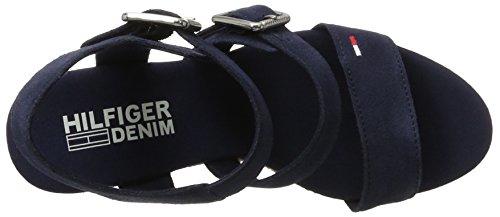 Tommy Hilfiger L1385una 3b, Sandalias con Cuña para Mujer Azul (Tommy Navy 406)