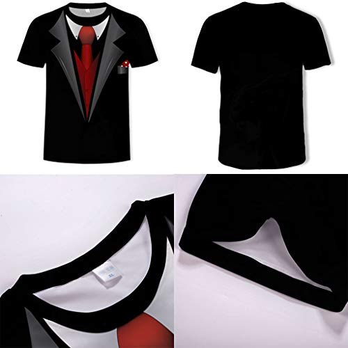 Allywit Hot Popular!Men's Funny Faux Tuxedo Suit Muscle 3D Print Short Sleeve T-Shirt Top Blouse Tee Black by Allywit-Mens (Image #3)