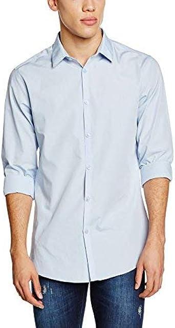 New Look Long Sleeve Poplin Camisa, Azul (Light Blue), M para ...