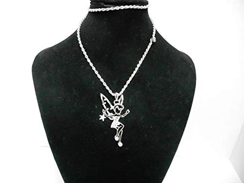 - Silver Tone Crystal Tinkerbell Tinker Bell Necklace KDJ-417