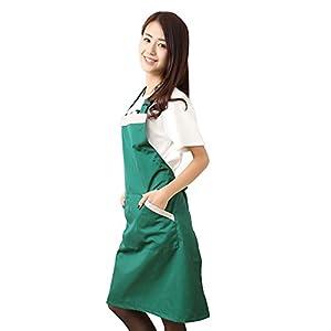 FSK Adjustable Bib Apron Kitchen Women Apron Work Apron - 2 Front Pockest (Green)