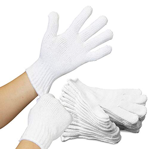 [12 Pairs, Large] Polyester Cotton Knit Safety Protection Work Grip Gloves for Painter Machanic Industrial Warehouse Gardening, Men Women, Bleached White - 24 Count Bulk ()