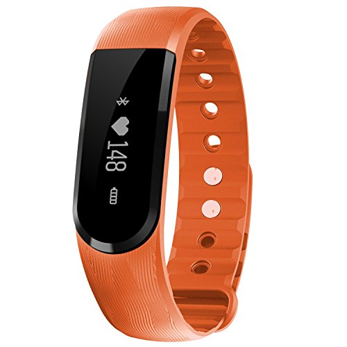 FenYi ID101 OLED Heart Rate Monitor Bluetooth Smart Watch Bracelet Sleep Activity Tracker Intelligent Wristband Health Fitness Tracker Sports Watch for Android Smartphone iOS iPhone (Orange)