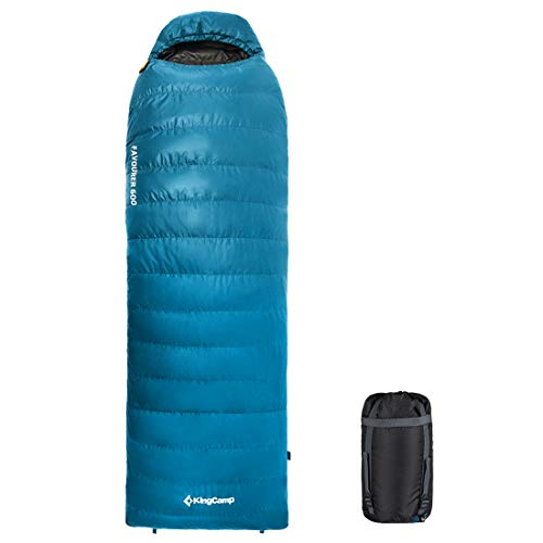 KingCamp Down Envelope Sleeping Bag for Backpacking 0 Degree 500 Fill Power Ultra Warm Hooded Lightweight Portable Waterproof Comfort with Compression Sack for Winter Camping Hiking
