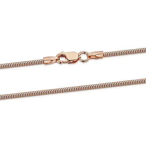 14k Gold Plated Snake Chain (14K Rose Gold Plated on 925 Sterling Silver 1.4 mm Snake Chain Necklace Length 20