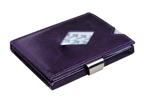 Nylon Purple Travel Wallets - EXENTRI Leather Trifold Wallet - RFID Blocking w/Stainless Steel Locking Clip (Purple)