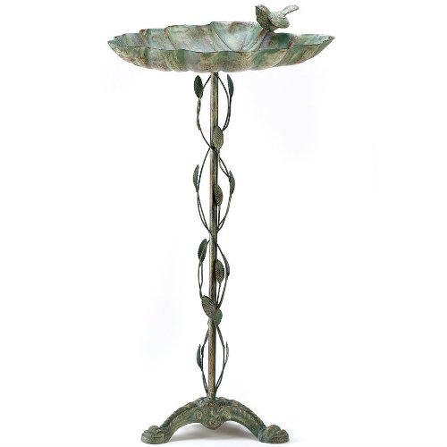 StealStreet SS-KHD-39448 27.5 Verdigris Leaf Birdbath Garden Decor Smart Living