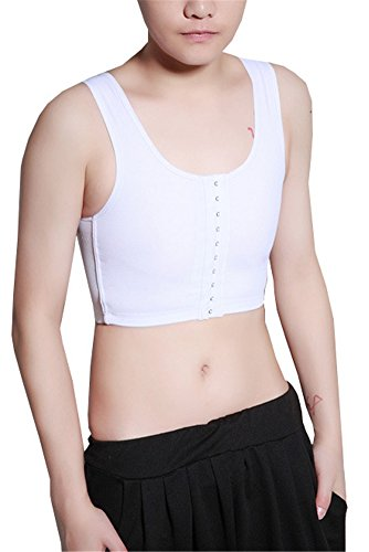 Breathable Super Flat Les Lesbian Compression 3 Rows Central Clasp Chest Binders (Small, White)