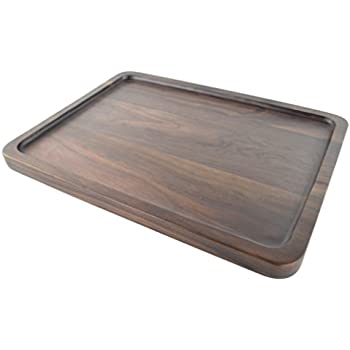 samyo black walnut solid wood rectangular tableware serving tray handcrafted decorative trays food tray serving platters with gripper for coffee wine - Decorative Serving Trays