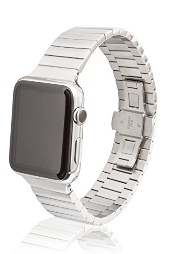 38mm JUUK Revo Premium Apple Watch band, made with Swiss quality using only the highest grade solid 316L stainless steel with a satin brushed finish and solid steel butterfly deployant buckle by JUUK