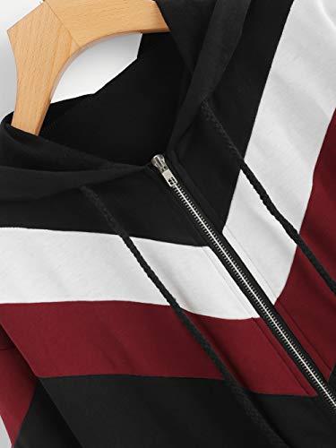 Colore Con Della Sport Rappezzatura Zip Felpa Cappuccio Capispalla Sottile Cappotto Donne Con Jersh Manica Nero Casual Sportswear Cappuccio Lunga wq8IC