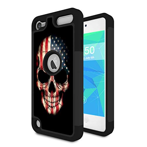 (iPod Touch 6 Case,iPod Touch 5 Case,Spsun Dual Layer Hybrid Hard Protector Cover Anti-Drop TPU Bumper for Apple iPod Touch 6th/5th Generation,American Flag Skull)