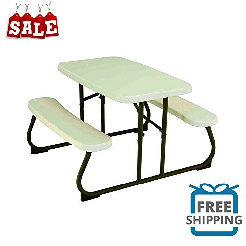 BS Folding Picnic Table for Children's Rectangular Plastic Play Table Durable Comfortable Easy Storage Weather-Resistant Outdoor Activities Fun Games & eBook by BADA Shop by BS