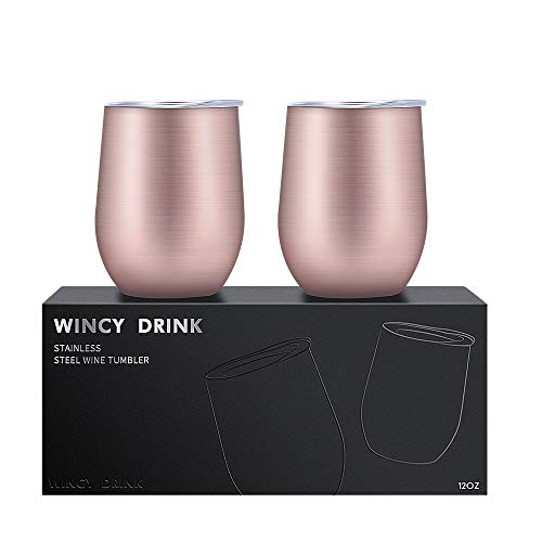 12 oz Double-insulated Stemless Wine Glass, Stainless Steel Wine Tumbler Cup with Lids for Drinks, Wine, Coffee, Cocktails, Champagne, Ice Cream, 2 Set (Rose Gold)