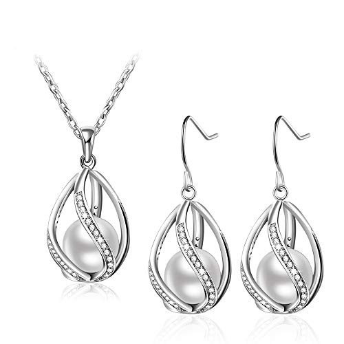 Bijours Drop & Dangle Earrings and Necklace Set for Women, Handmade Pearl Earrings and Necklace, Fine Jewelry Hypoallergenic, Perfect for Gift
