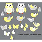 Yellow and Gray Birds and Owls Wall Decals for Kids Room, Birds and Owls