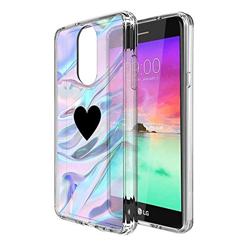 Design Case for LG Stylo 4,Merciey Clear Crystal Black Spades Heart Personalized Customization Pattern Protective Cover, LG Stylo 4 Case
