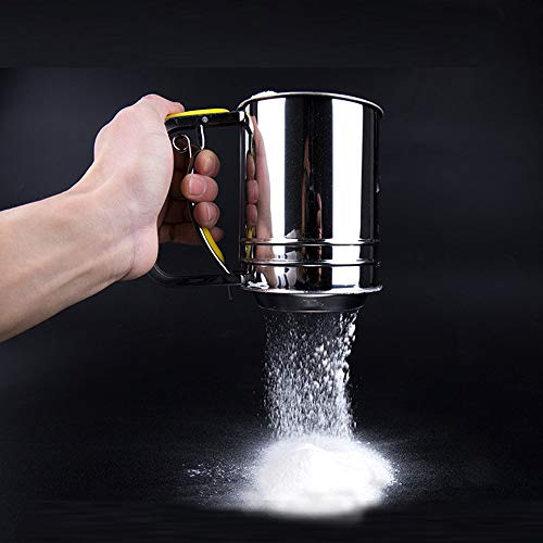 Flour Sieve Sifters Mesh Cup Stainless Steel Hand Crank Flour Icing Sugar Sifter for Baking Cooking Home Restaurant Kitchen Tool (Silver) (Sifter Silver)