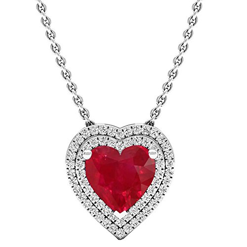 14k 8 Mm Heart - Dazzlingrock Collection 14K 8 MM Heart Lab Created Ruby & Round Diamond Heart Double Halo Pendant, White Gold