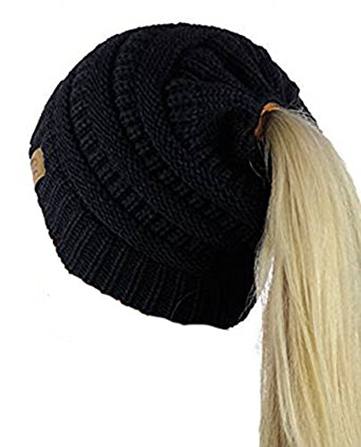 CC Quality Messy Bun Beanie Tail Soft Stretch Cable Knit Ponytail Hat, (Black)