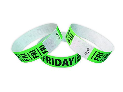 """Wristband Giant 3/4"""" Tyvek Wristbands Weekend FRIDAY 500 box Identification Bands (Neon Lime)"""