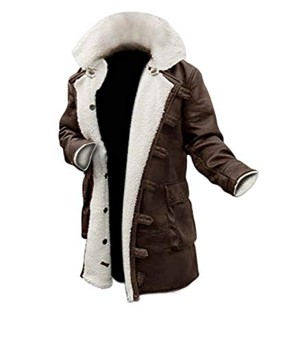 Brown Shearling Leather Trench Jacket Men | M -
